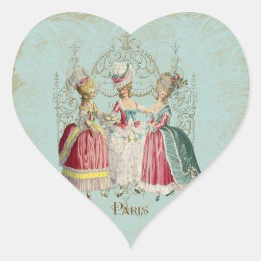 Marie Antoinette French Paris Ladies Heart Sticker