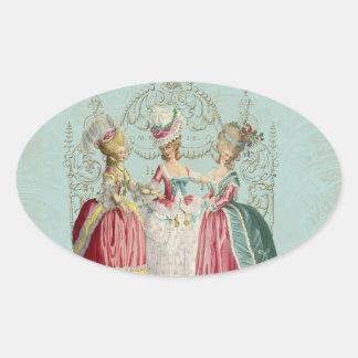 Marie Antoinette French Paris Ladies Oval Sticker