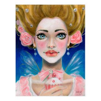 Marie Antoinette Gold Let them eat cupcake in pink Postcard