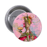 Marie Antoinette Hot Pink & Peacock 2 Inch Round Button