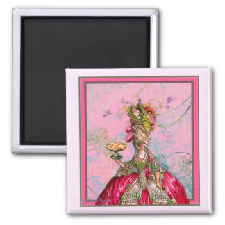Marie Antoinette Hot Pink & Peacock 2 Inch Square Magnet