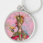 Marie Antoinette Hot Pink & Peacock Silver-Colored Round Keychain