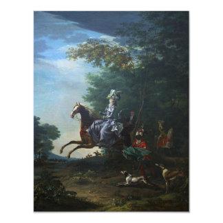 Marie Antoinette Hunting by Louis Auguste Brun Card