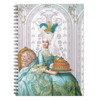 Marie Antoinette in Aqua Spiral Note Book