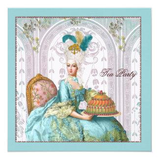 Marie Antoinette in Aqua with Cake 5.25x5.25 Square Paper Invitation Card