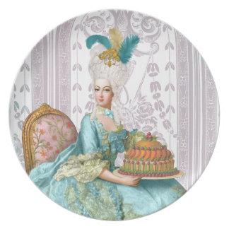 Marie Antoinette in Aqua with Cake Melamine Plate