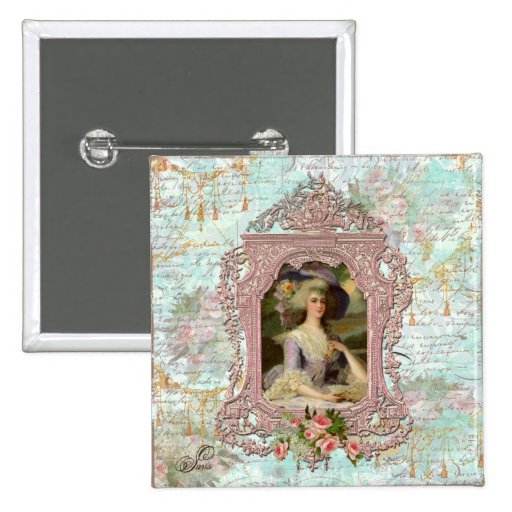 Marie Antoinette in Pink Frame 2 Inch Square Button