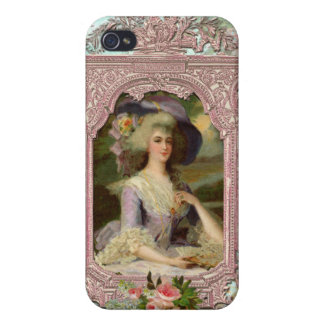 Marie Antoinette in Pink Frame Covers For iPhone 4