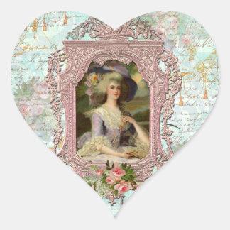 Marie Antoinette in Pink Frame Heart Sticker