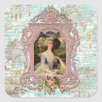 Marie Antoinette in Pink Frame Square Sticker