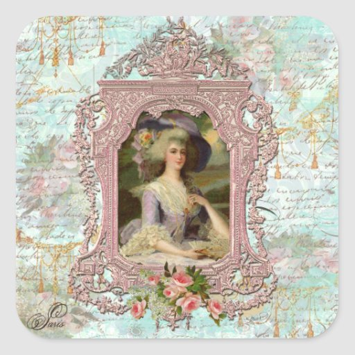 Marie Antoinette in Pink Frame Square Sticker