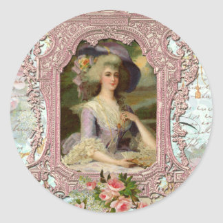 Marie Antoinette in Pink Frame Round Stickers