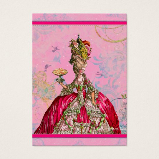 Marie Antoinette in Pink with Peacock Business Card