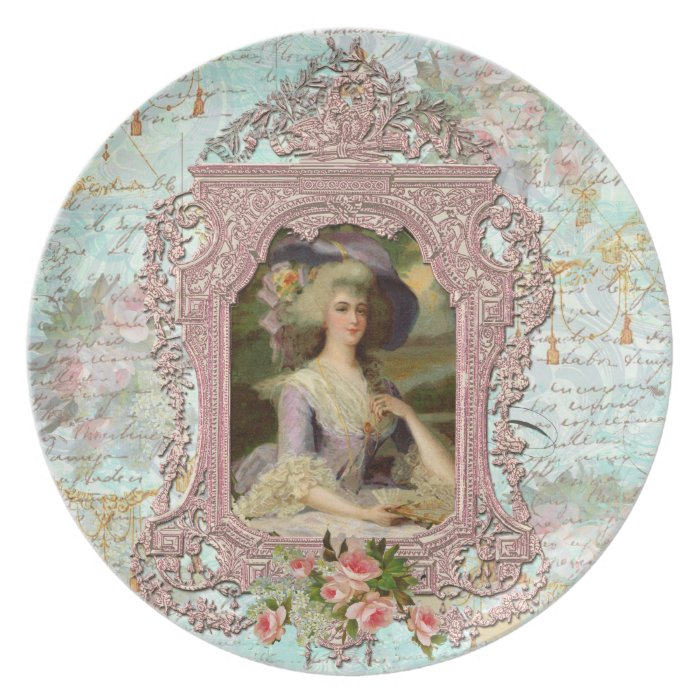 Marie Antoinette in Pink with Pink Roses Melamine Plate