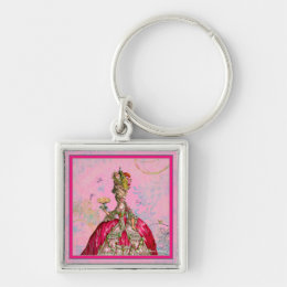 Marie Antoinette Let them eat cake & Peacock Keychain