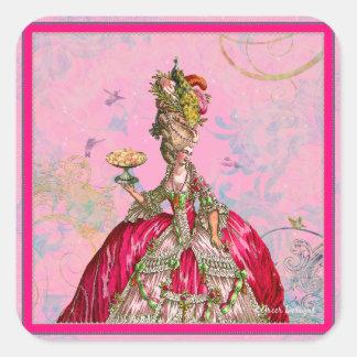 Marie Antoinette Let them eat cake & Peacock Square Sticker