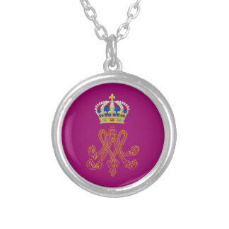 Marie Antoinette Monogram Silver Plated Necklace