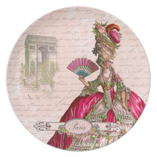 Marie Antoinette Paris & Arc de Triomphe Melamine Plate