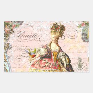 Marie Antoinette Paris Pink Roses Rectangular Sticker