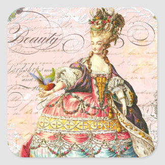 Marie Antoinette Paris Pink Roses Square Sticker