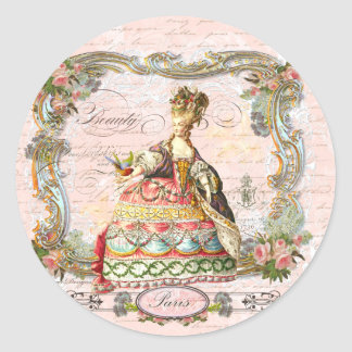 Marie Antoinette Paris Pink Roses Round Stickers