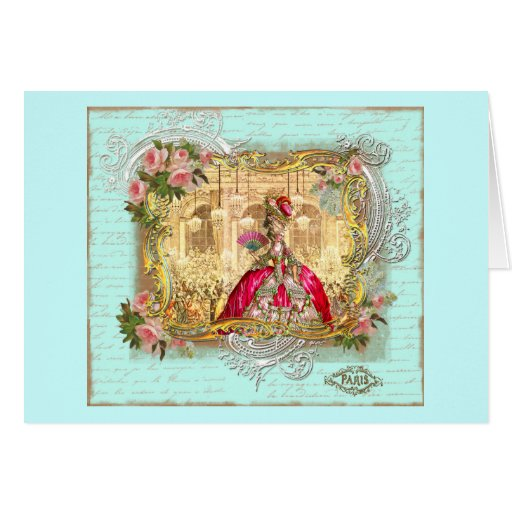 Marie Antoinette Party at Versailles in Aqua Card