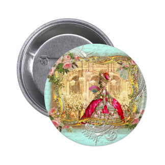 Marie Antoinette Party at Versailles in Aqua Pinback Button