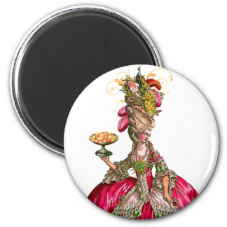 Marie Antoinette peacock and cake 2 Inch Round Magnet