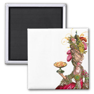 Marie Antoinette peacock and cake 2 Inch Square Magnet