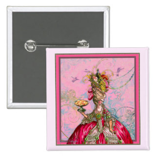 Marie Antoinette Peacock and Cake Pinback Button