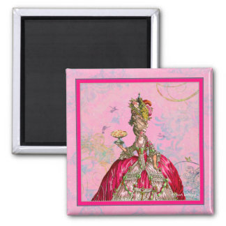 Marie Antoinette Peacock and Cakes 2 Inch Square Magnet