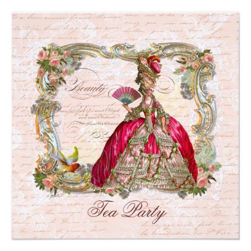 Marie Antoinette & Pink Roses Custom Invitations