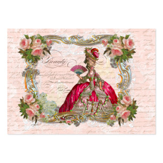 Marie Antoinette & Pink Roses Large Business Card