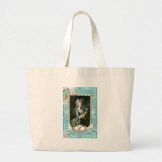 Marie Antoinette Pink Roses n Lace Canvas Bag