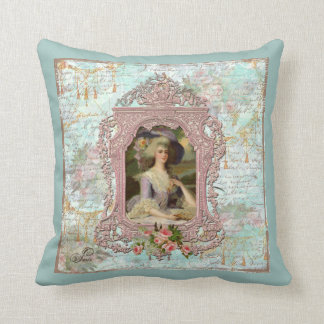 Marie Antoinette Pink Roses Throw Pillow