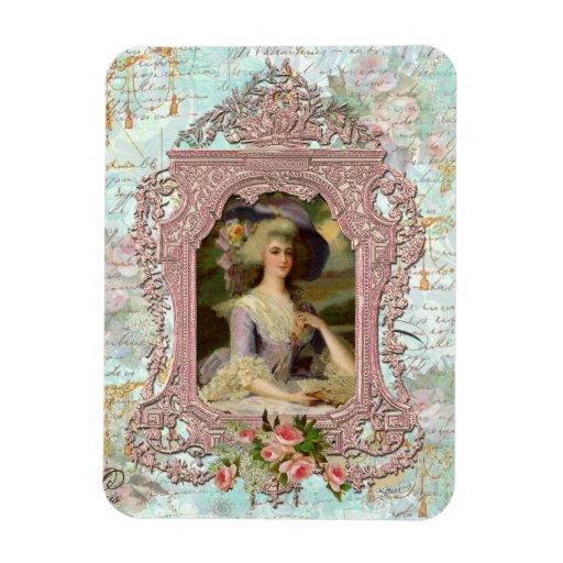 Marie Antoinette & Pink Roses Vinyl Magnet