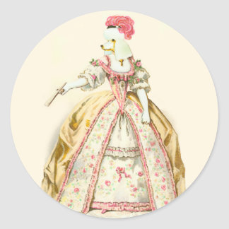 Marie Antoinette Poodle Classic Round Sticker