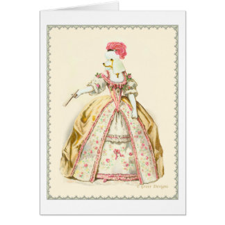 Marie Antoinette Poodle Fashion Plate Stationery Card