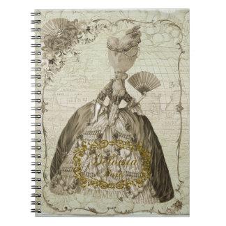 Marie Antoinette portrait notebook sepia