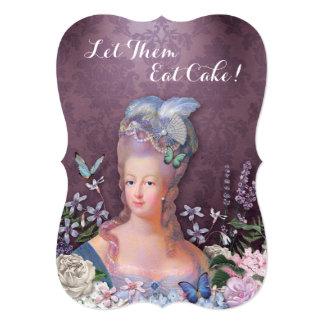Marie Antoinette Purple Floral 5x7 Paper Invitation Card