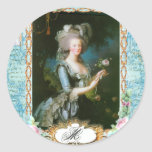Marie Antoinette Roses and Lace Classic Round Sticker