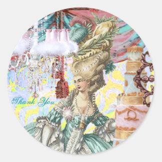 Marie Antoinette Round Label by Michelle Falero Classic Round Sticker