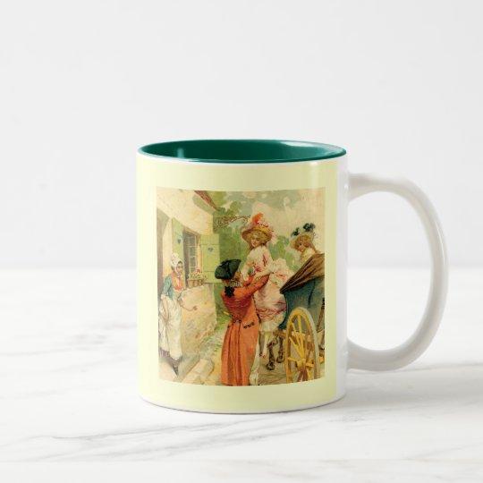 Marie Antoinette Style Vintage Art Design Two-Tone Coffee Mug