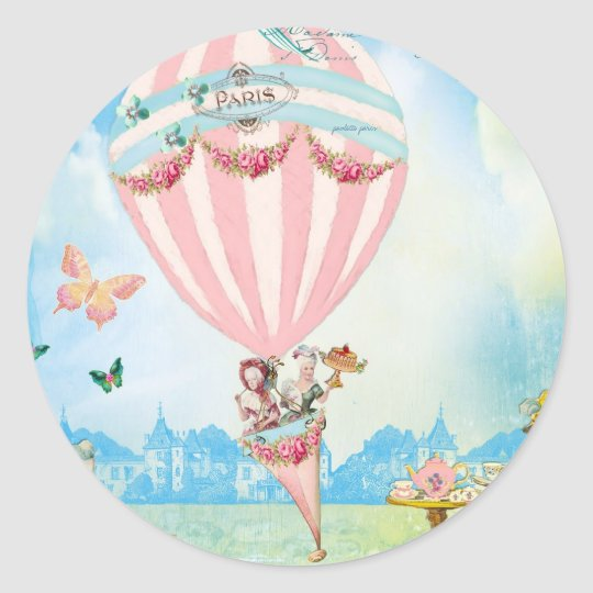Marie Antoinette Tea at Versailles in a PinkBaloon Classic Round Sticker