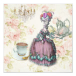 marie antoinette tea pot floral birthday party 5.25x5.25 square paper invitation card