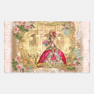 Marie Antoinette Versailles Party in Pink Rectangular Sticker