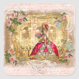 Marie Antoinette Versailles Party in Pink Square Sticker