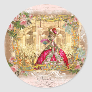 Marie Antoinette Versailles Pink Party Classic Round Sticker