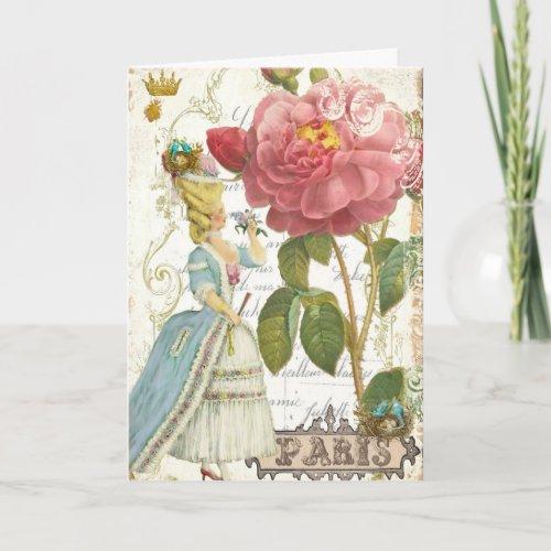 Marie Antoinette Versailles Stationery Garden Rose card