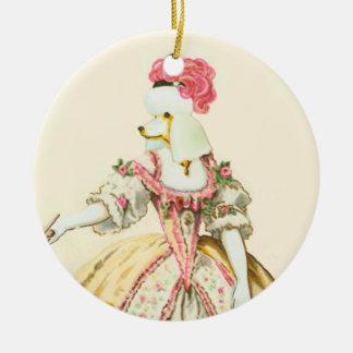 Marie Antoinette White Poodle Christmas Ornament